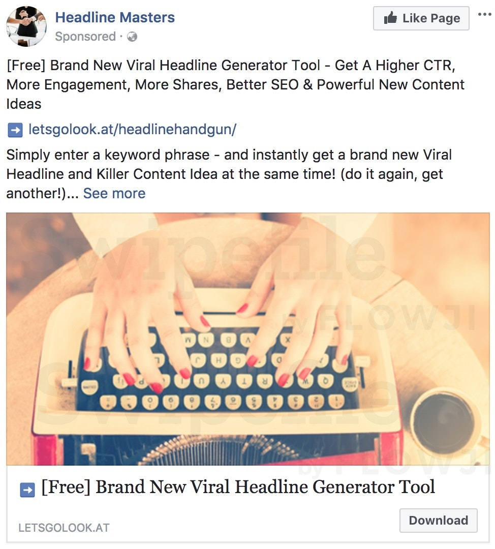 Facebook Ad - Headline Generator Tool - Swipefile by Flowji