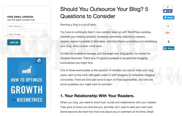 Opt-in Example - Should You Outsource Your Blog? 5 Questions to