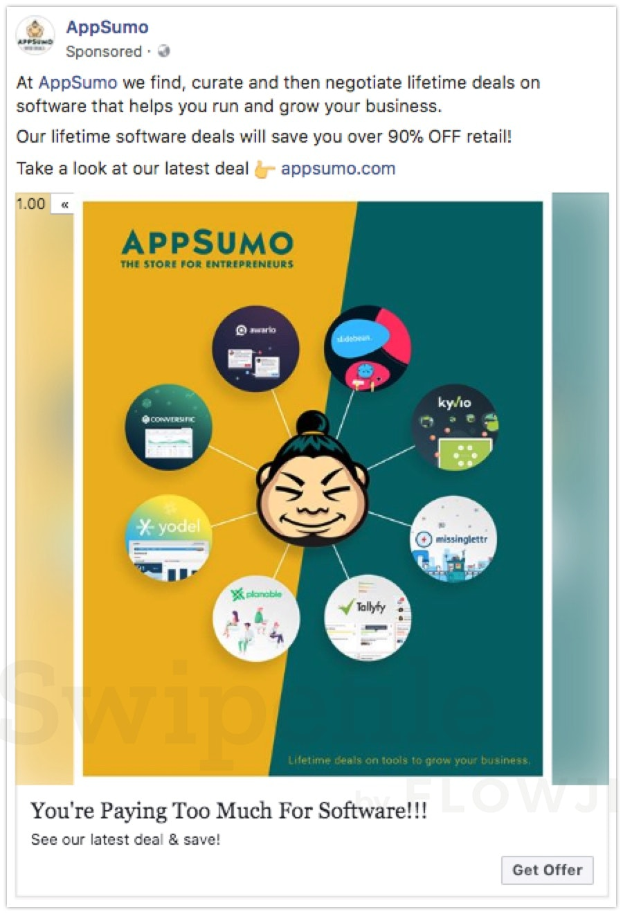 Facebook ads collection swipefile by flowji find curate and then negotiate lifetime deals on software that helps you run and grow malvernweather Image collections