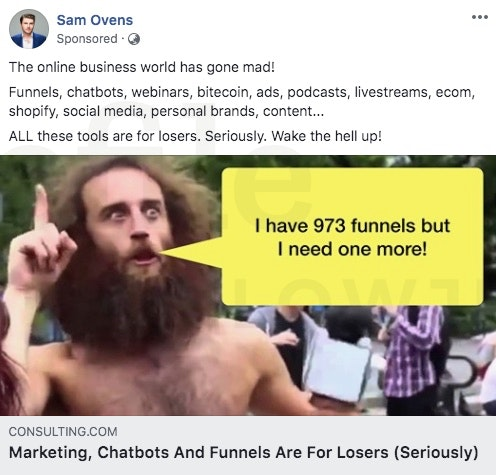 Facebook Ad - Sam Ovens - The online business world has gone mad
